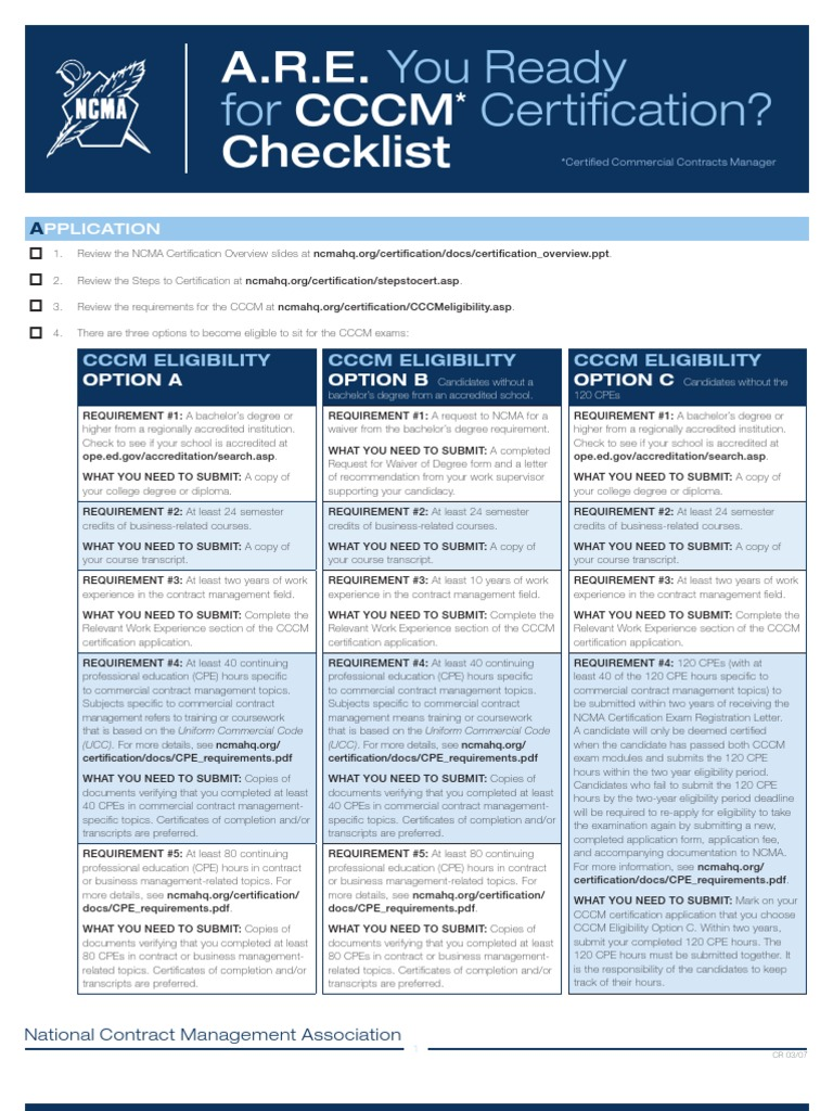 Cert07 Cccm Are Checklist Academic Degree Professional Certification