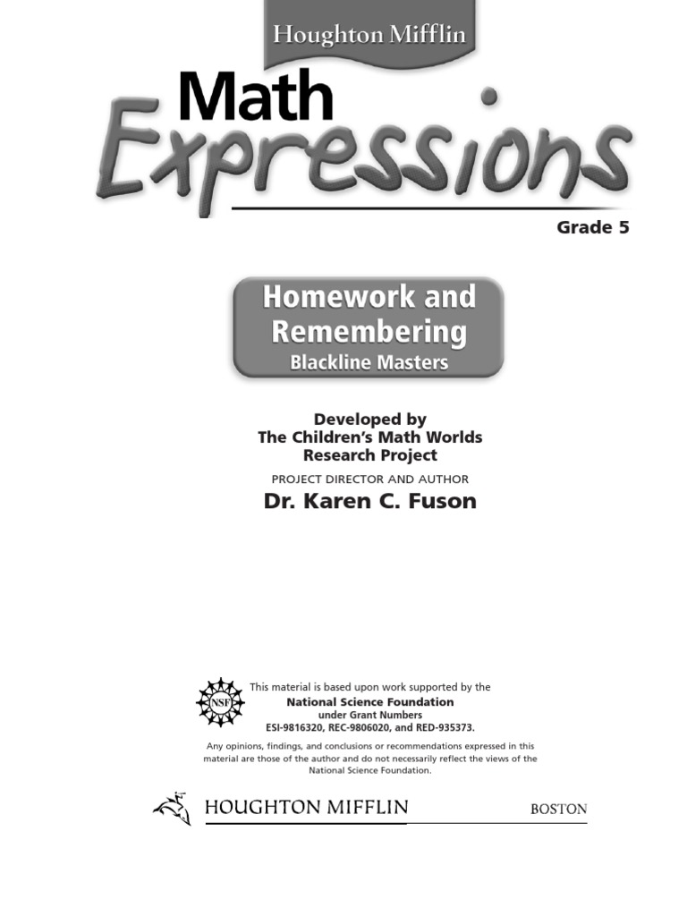 Uncategorized Houghton Mifflin Math Grade 5 Worksheets mathexpressionshomeworkandremembering grade5studentversion multiplication all rights reserved
