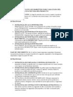 ESTRATEGIAS Y TATICA DE MARKETING PARA CADA ETAPA DEL CICLO DE VIDA DEL PRODUCTO