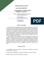 Análise de Dados - Métodos Quantitativos (2010- 2011)