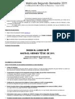 Informativo Beca de Matricula Segunto Semetre 2011