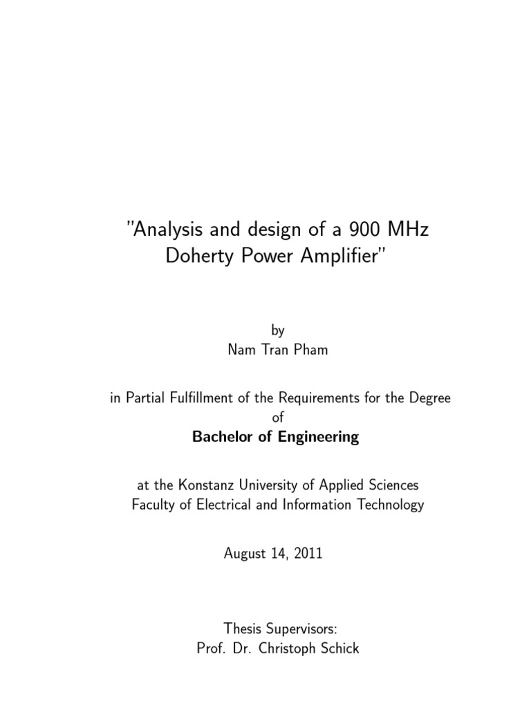 Bachelor Thesis Analysis And Design Of A 900mhz Doherty Power Microwave Transistor Amplifier Circuit Diagram B Schematic