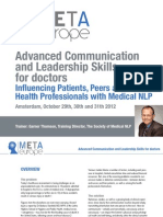 Communication & Leadership for doctors Amsterdam October 29, 30, 31 2012