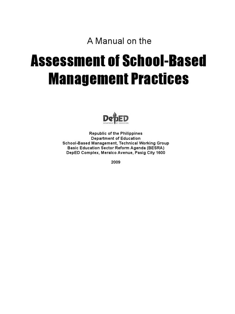 school based management manual educational assessment teachers rh scribd com School-Based Management Philippines School-Based Management Practices