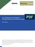 The Challenge of Customization