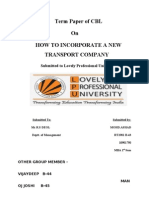 Term Paper of Corporate and Business Law How to Incorporate a New Transport Company