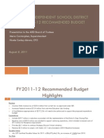 AISD Power Point Presentation on Recommended budget for 2011-12 (August 8, 2011)
