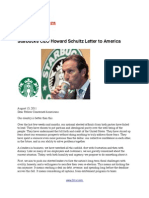 Starbucks CEO Howard Schultz Letter to America