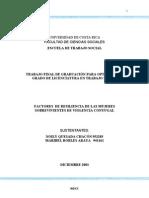 Factores de Resiliencia de Las Mujeres Sobrevivientes de Violencia Conyugal
