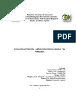 EVOLUCIÓN HISTÓRICA DE LA EDUCACIÓN ESPECIAL MUNDIAL Y EN VENEZUELA