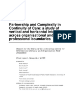 Hardy B and Hudson (2005) - Partnership and Complexity in Continuty of Care - SDO Report