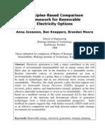 Principles-Based Comparison Framework for Renewable Electricity Options