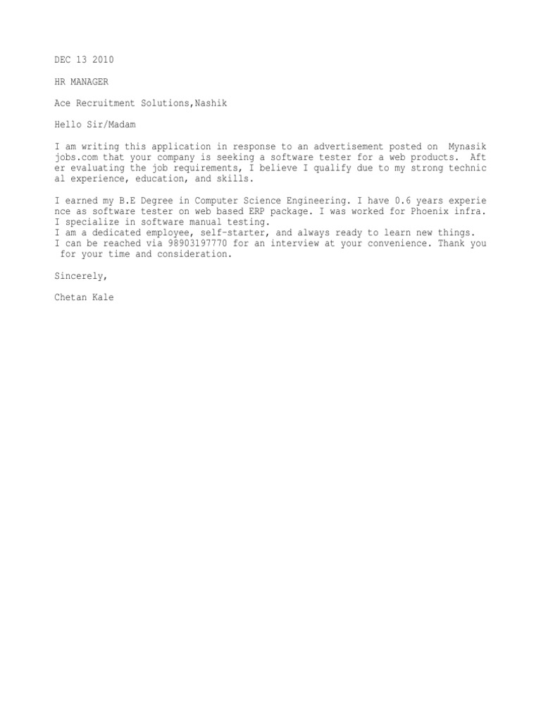 Cover Letter For Software Testing