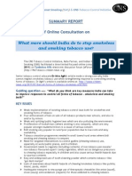 Summary Report What Should India Do More to Control Smokeless and Smoking Tobacco Use - August 2011