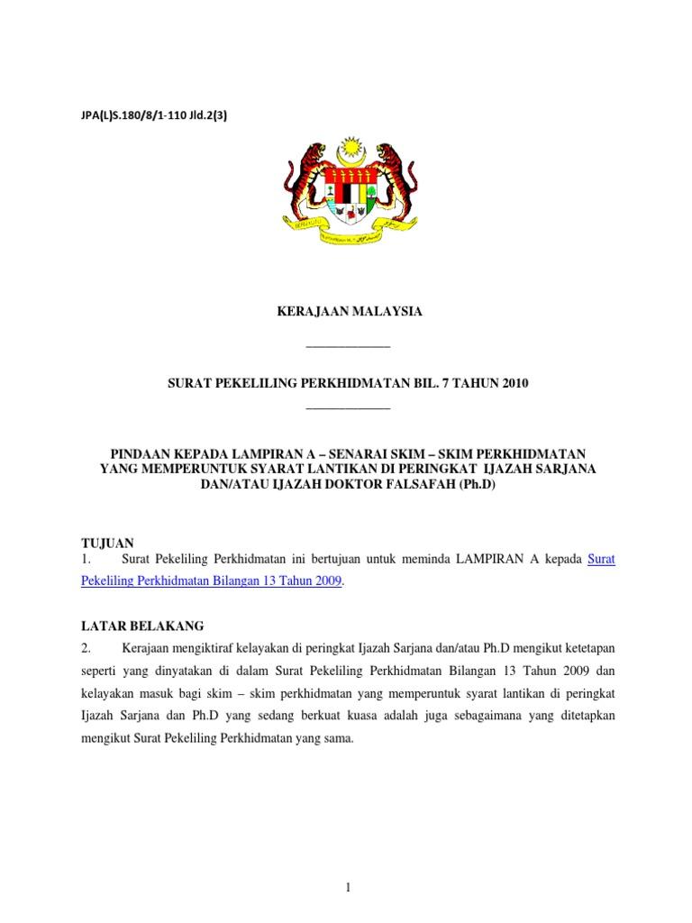 Surat Pekeliling Perkhidmatan Bil 7 Tahun 2010