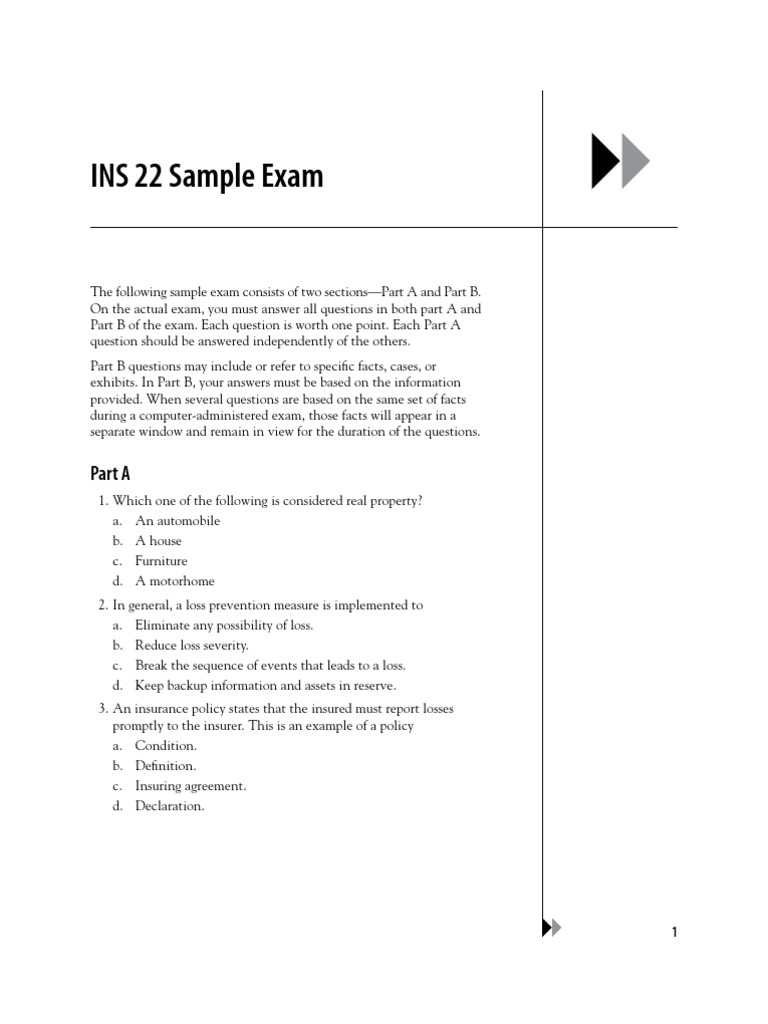 Cpcu professional insurance professional certification ins 22sample exam xflitez Gallery