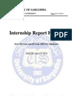 Internship Report Format