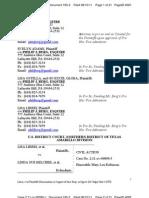 LIBERI v BELCHER et al. (N.D. TX) - 185.2 - Memorandum of Points and Authorities in Support of Plaintiffs Opposition - gov.uscourts.txnd.205641.185.2