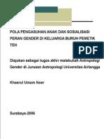Pola Pengasuhan Anak Dan Sosialisasi Peran Pada Keluarga Buruh Pemetik Teh