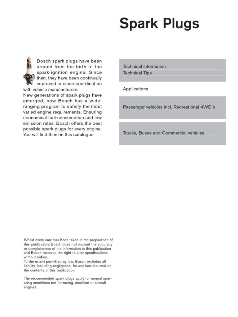 Bosch Spark Plug Guide Official   Internal Combustion Engine