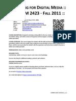 COMM 2423 Writing for Digital Media Fall 2011