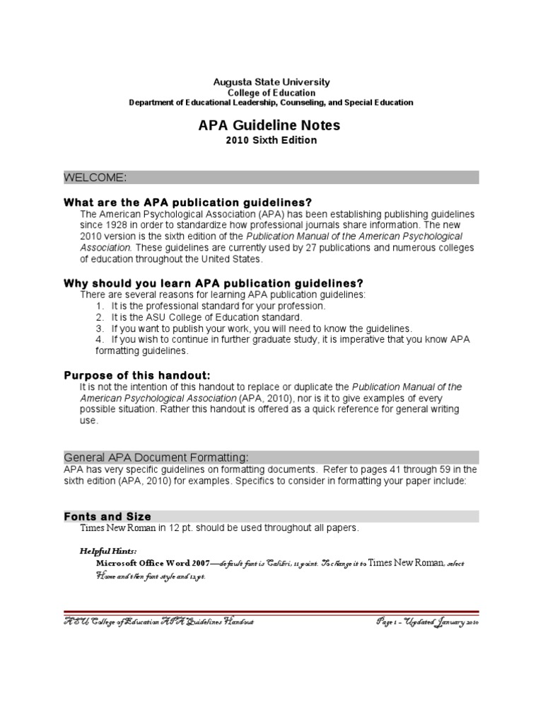 apa 6th edition guidelines