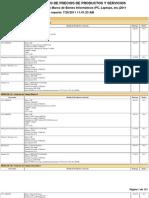 Reporte de Precios de Productos y Servicios