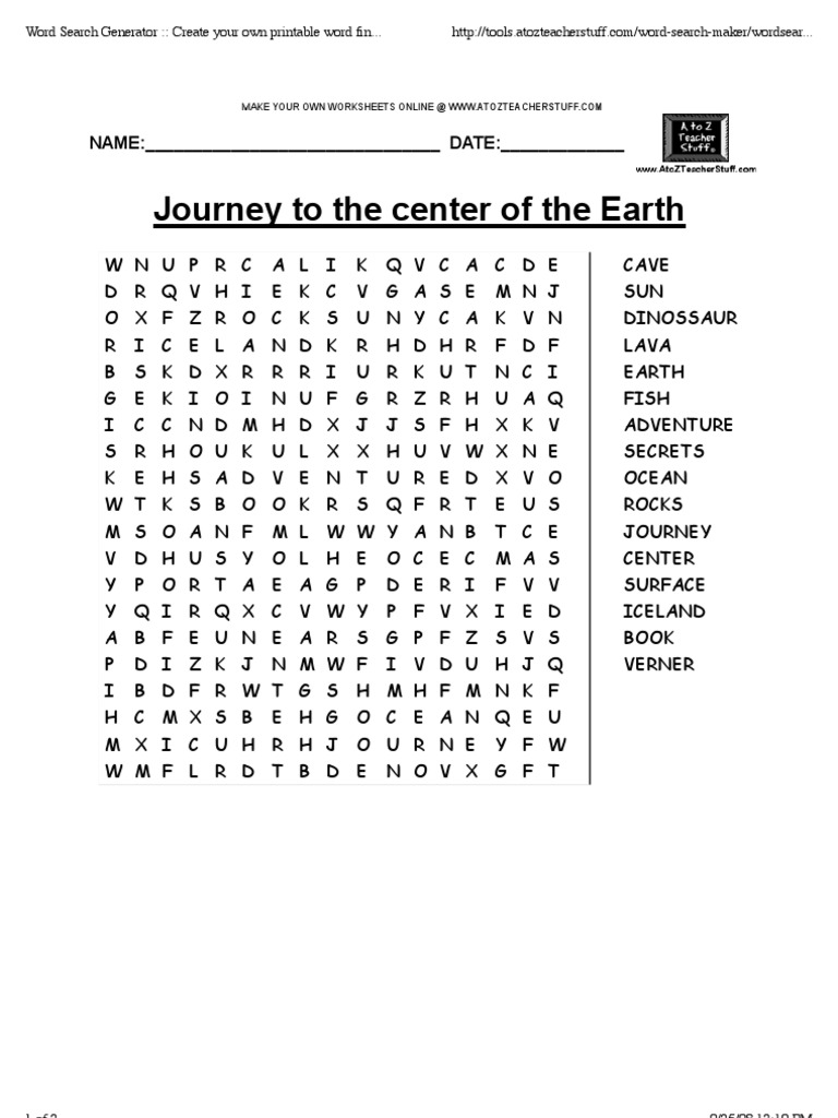 Worksheets Journey To The Center Of The Earth Worksheet journey to the center of earth word search