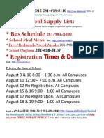TEXAS- Alief ISD--- School Supply List 2011-2012 (1)