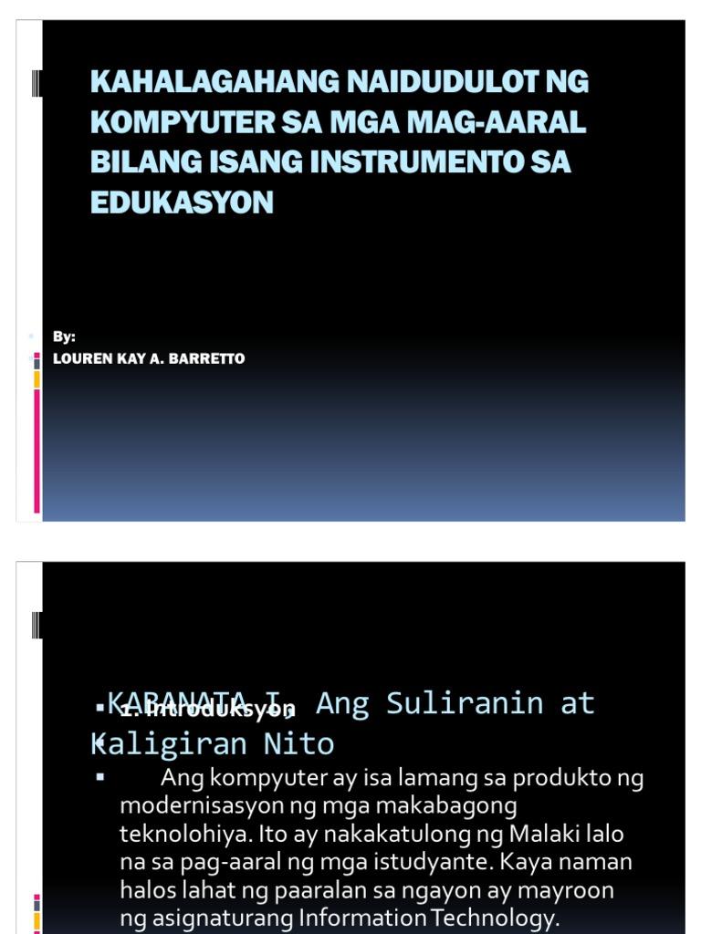 kahalagahan ng kompyuter sa mga estudyante thesis
