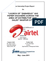 PGDM SIP REPORT ON AIRTEL- PRODUCT LAUNCH AND SALES AND DISTRIBUTION CHANNEL MANAGEMENT