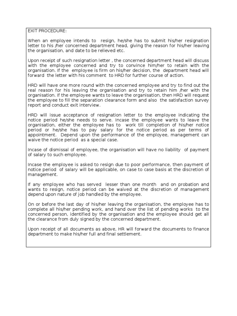 Exit Interview Letter To Employee from imgv2-1-f.scribdassets.com