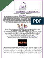 Newsletter 17th August 2011