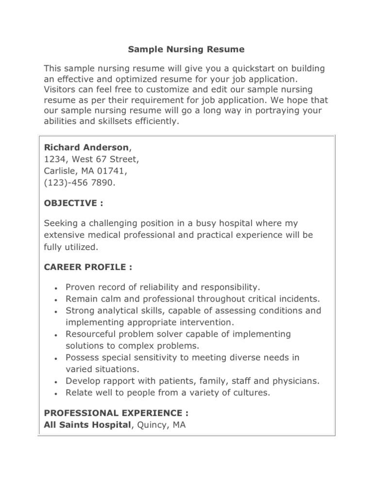 sample nursing resume nursing patient - Sample Of Nursing Resume