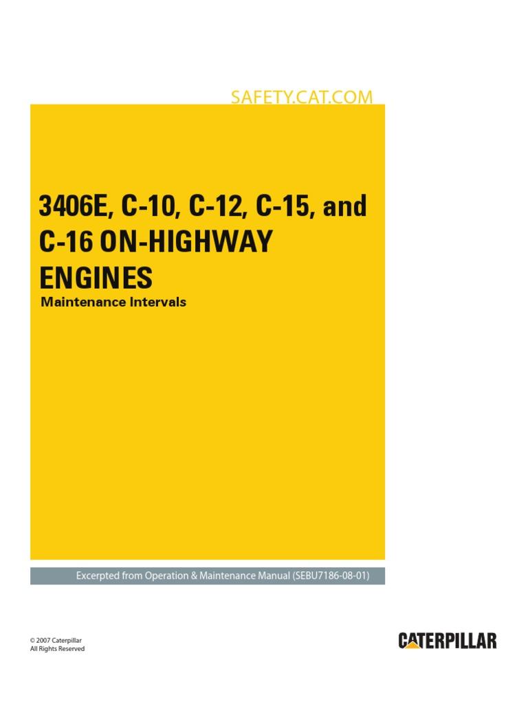 3406e c 10 c 12 c 15 and c 16 on highway engines maintenance