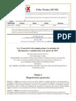 Ley General de telecomunicaciones, tecnologías de información y comunicación, 8 de agosto de 2011