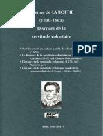 LA BOÉTIE, Étienne de • Discours de la servitude volontaire (1549-1570-1576) (+mp3)