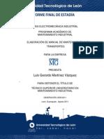 Reporte Final de Estadia Luis Gerardo Martinez Vasquez Manual de Mantenimiento Para Autotrasportes Universidad Tecnologica de Leon