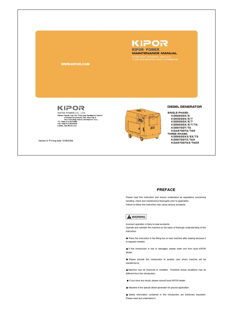 Admirable Kipor Diesel Gen Service Manual Electrical Connector 12K Views Wiring Digital Resources Helishebarightsorg
