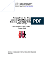 Voices From the War. Exploring the Motivation of Sendero Luminoso Militants