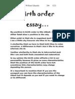 William Birth Order Essay
