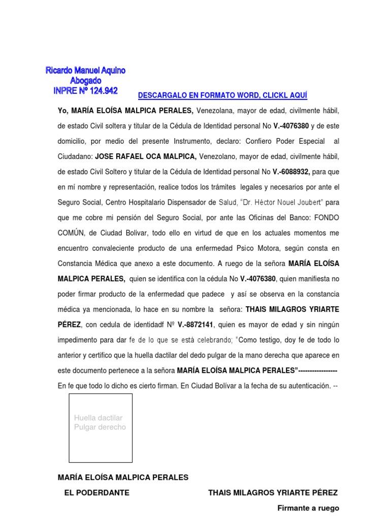 Formato Modelo Ejemplo Notaria Poder Firma A Ruego