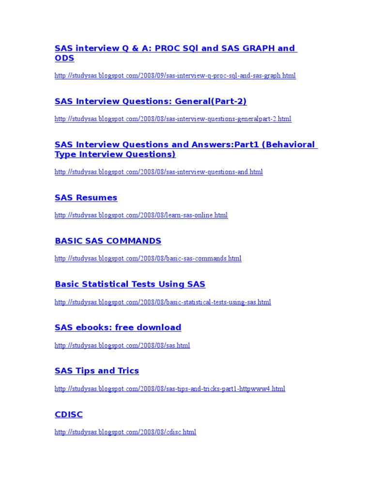 sas interview questions and answers and model resumes