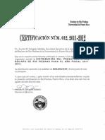 Certificación Núm. 012, 2011-2012(PRESUPUESTO)