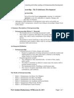 Handout 1 - Entrepreneurship the Evolutionary Development