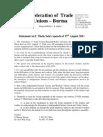 2011 August 18 FTUB Statement on U Thein Sein Speech of 17th August 2011