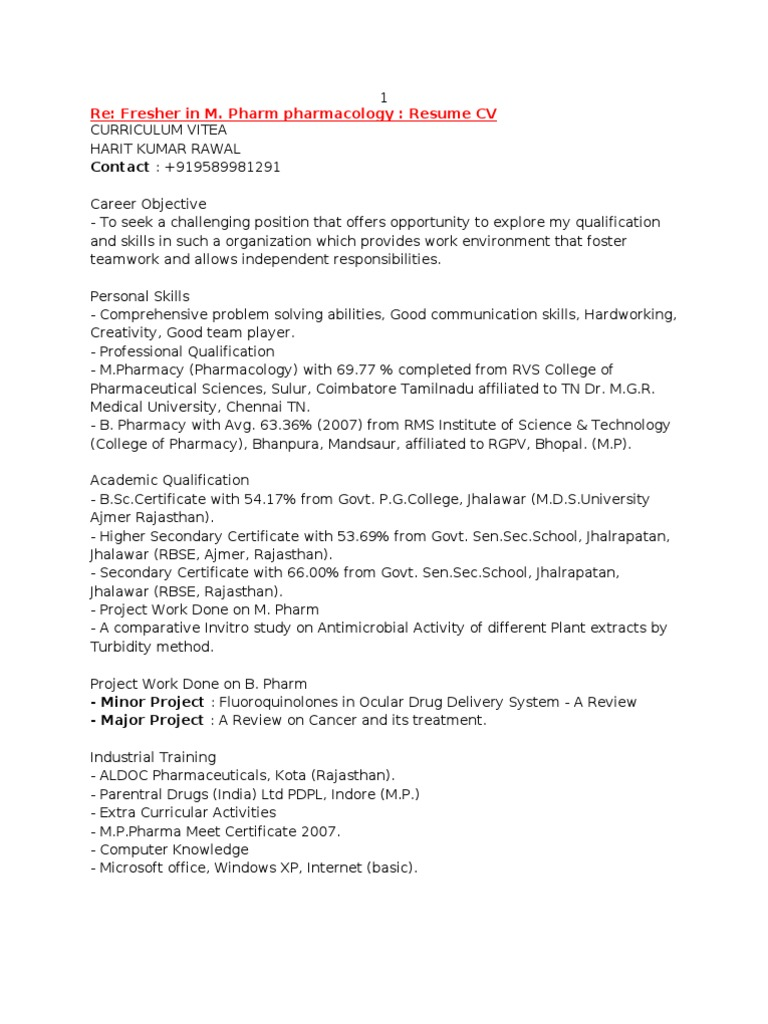 Sample M.pharm Fresher Resumes | Pharmacology | Pharmacy