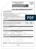 Application Form for Undergraduate Program Batch III