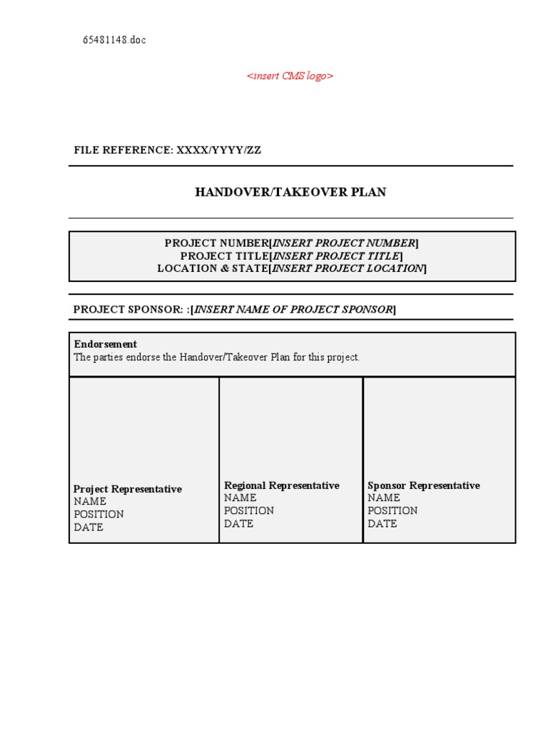 6_290 Project Handover Plan Template 100420 | General Contractor