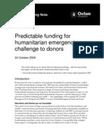 Predictable Funding for Humanitarian Emergencies